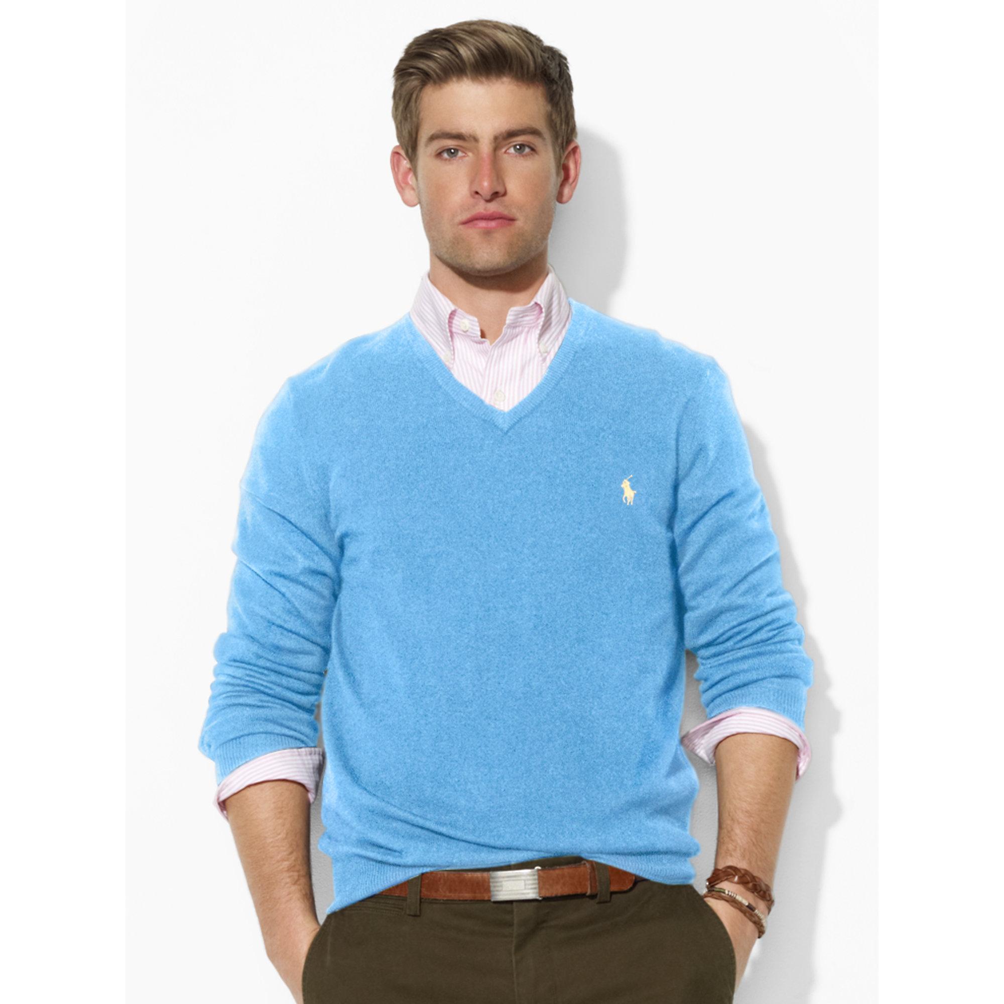 Polo ralph lauren Wool V-Neck Sweater in Blue for Men | Lyst