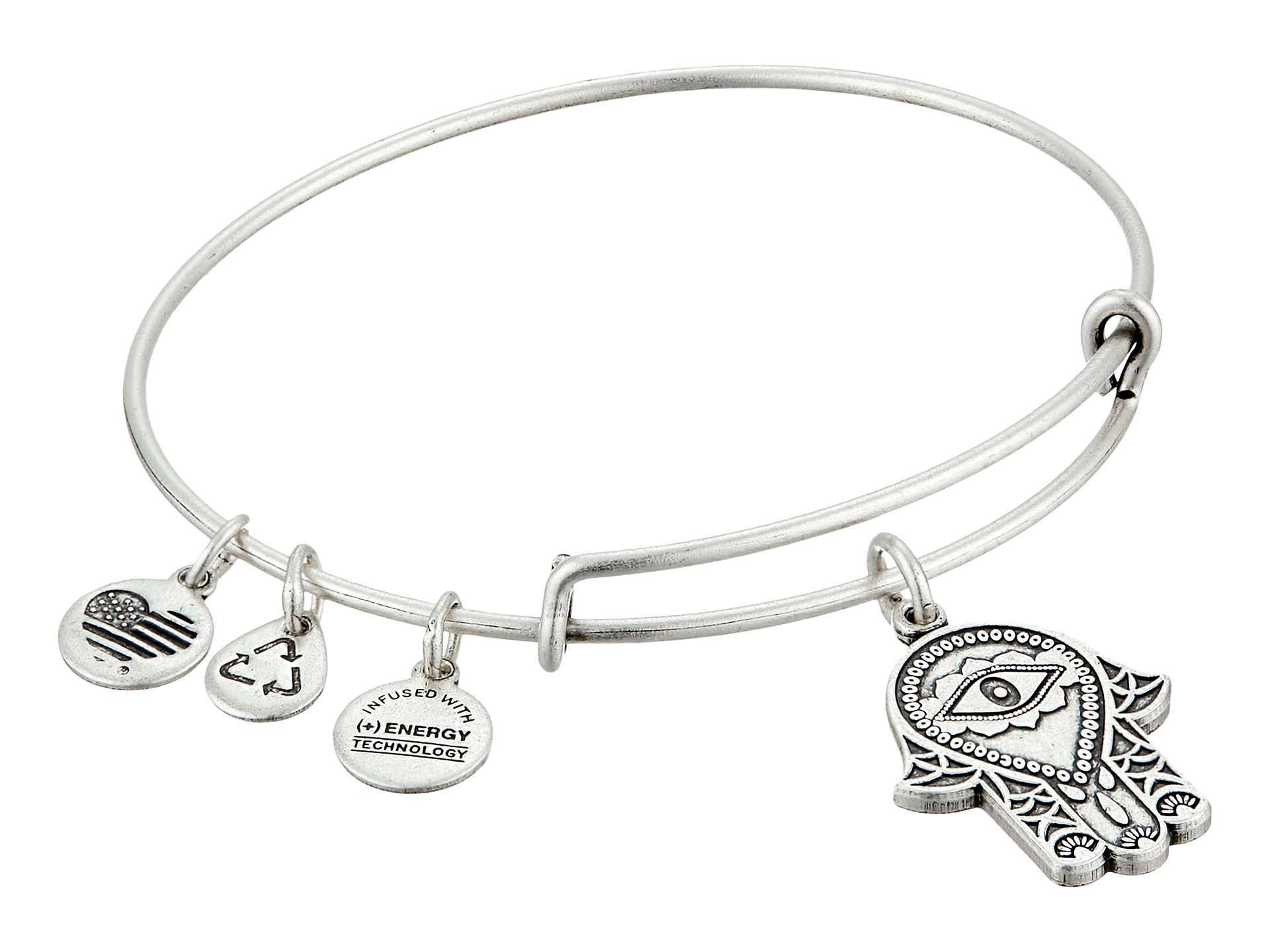Alex And Ani Hand Of Fatima Expandable Wire Bangle In