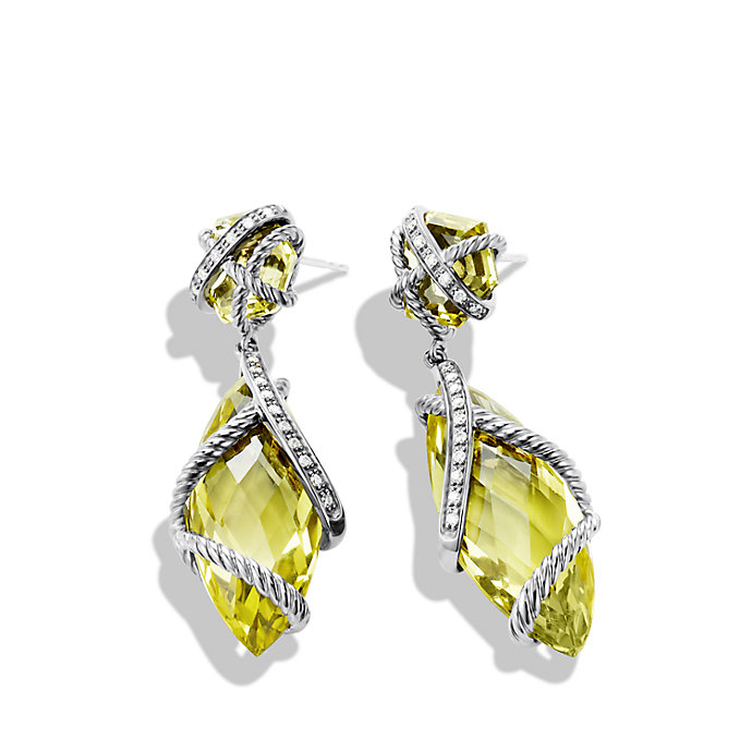 David Yurman Cable Wrap Double Drop Earrings With Lemon