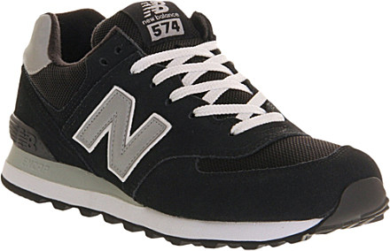 premium selection dfd98 7f78f New Balance 574 Suede Trainers - For Men in Black Grey ...