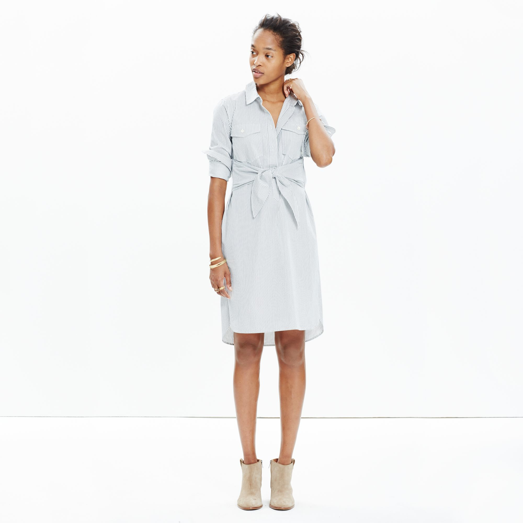 5691a438c13 Madewell Striped Tie-waist Shirtdress in White - Lyst