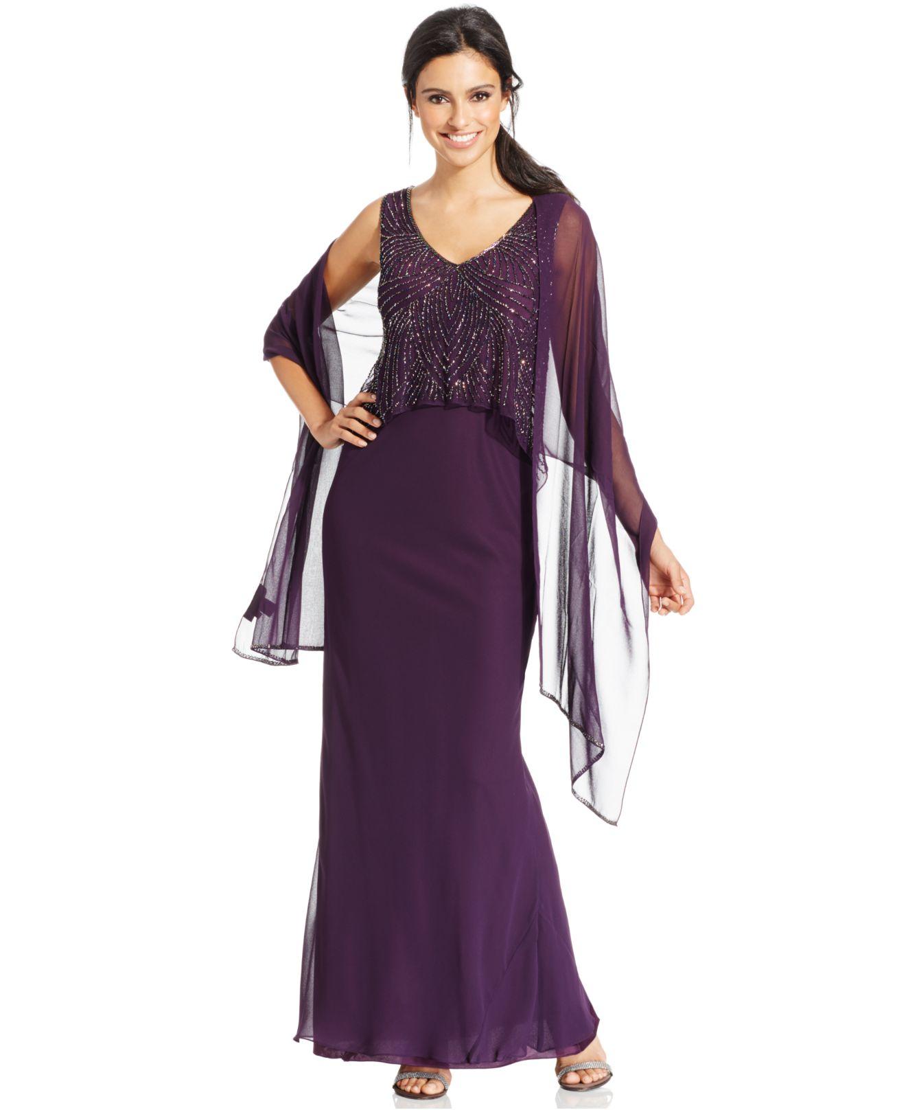Lyst - J Kara Beaded Chiffon Popover Gown in Purple