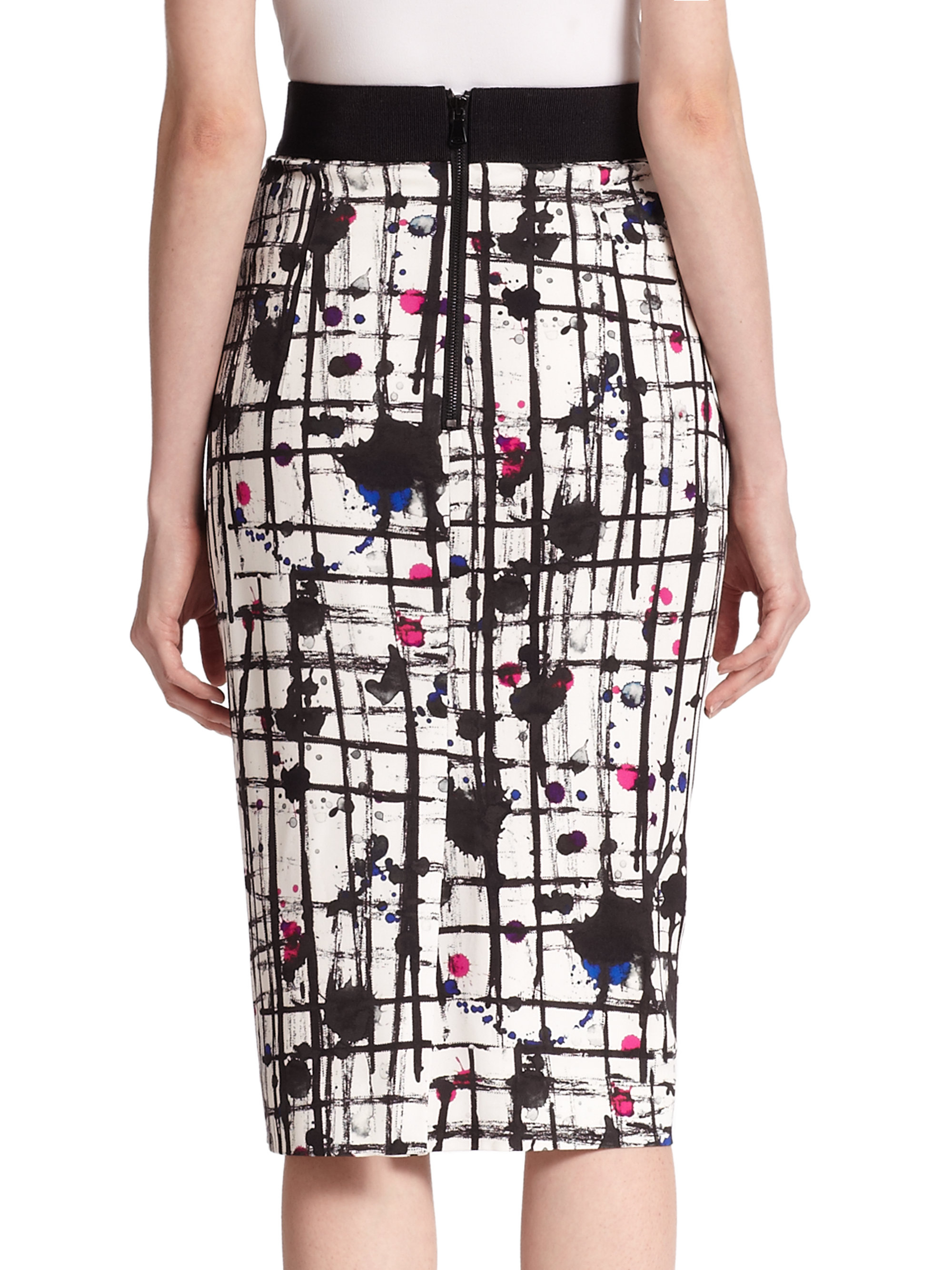 Milly Paint Splatter Pencil Skirt | Lyst