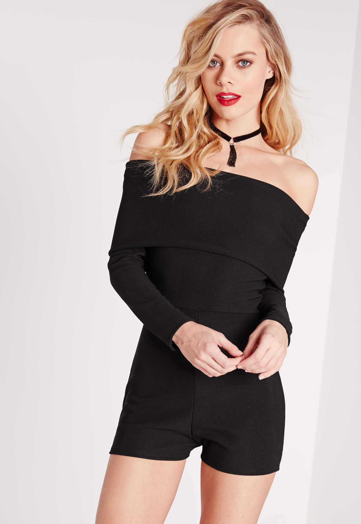 22453a9a2e7 Missguided Jersey Bardot Long Sleeve Playsuit Black in Black - Lyst