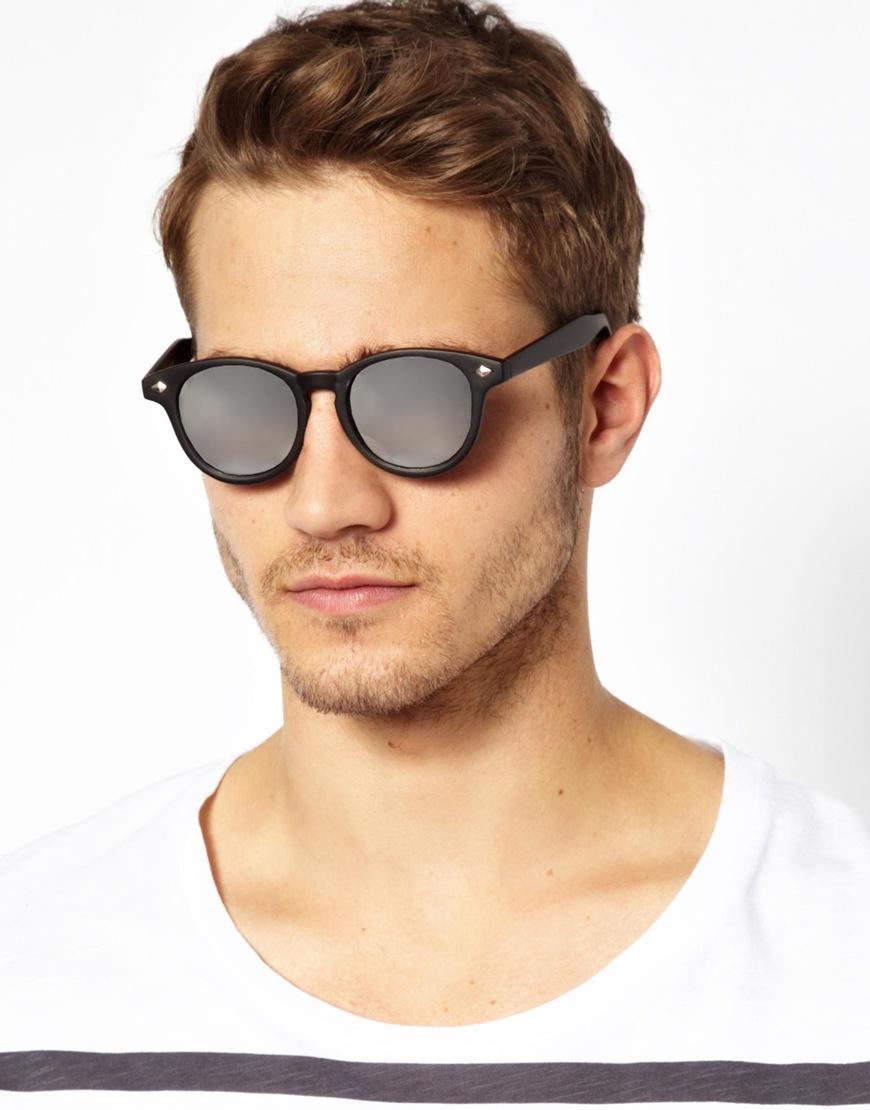 37a8bdbf88a Lyst - ASOS Preppy Wayfarer Sunglasses with Mirror Lens in Black for Men