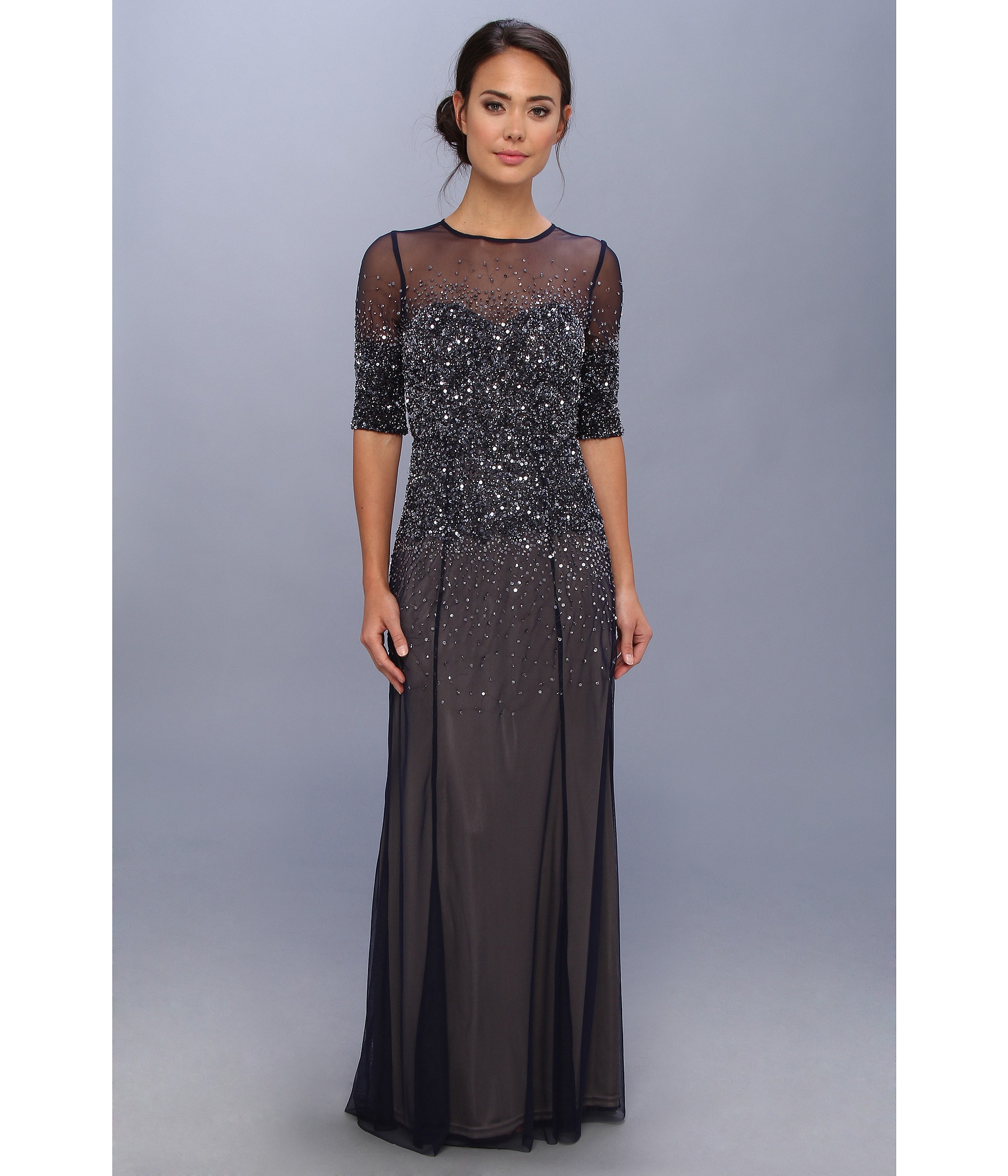 58c2ed683cef Lyst - Adrianna Papell 3 4 Sleeve Illusion Yoke Beaded Gown in Blue