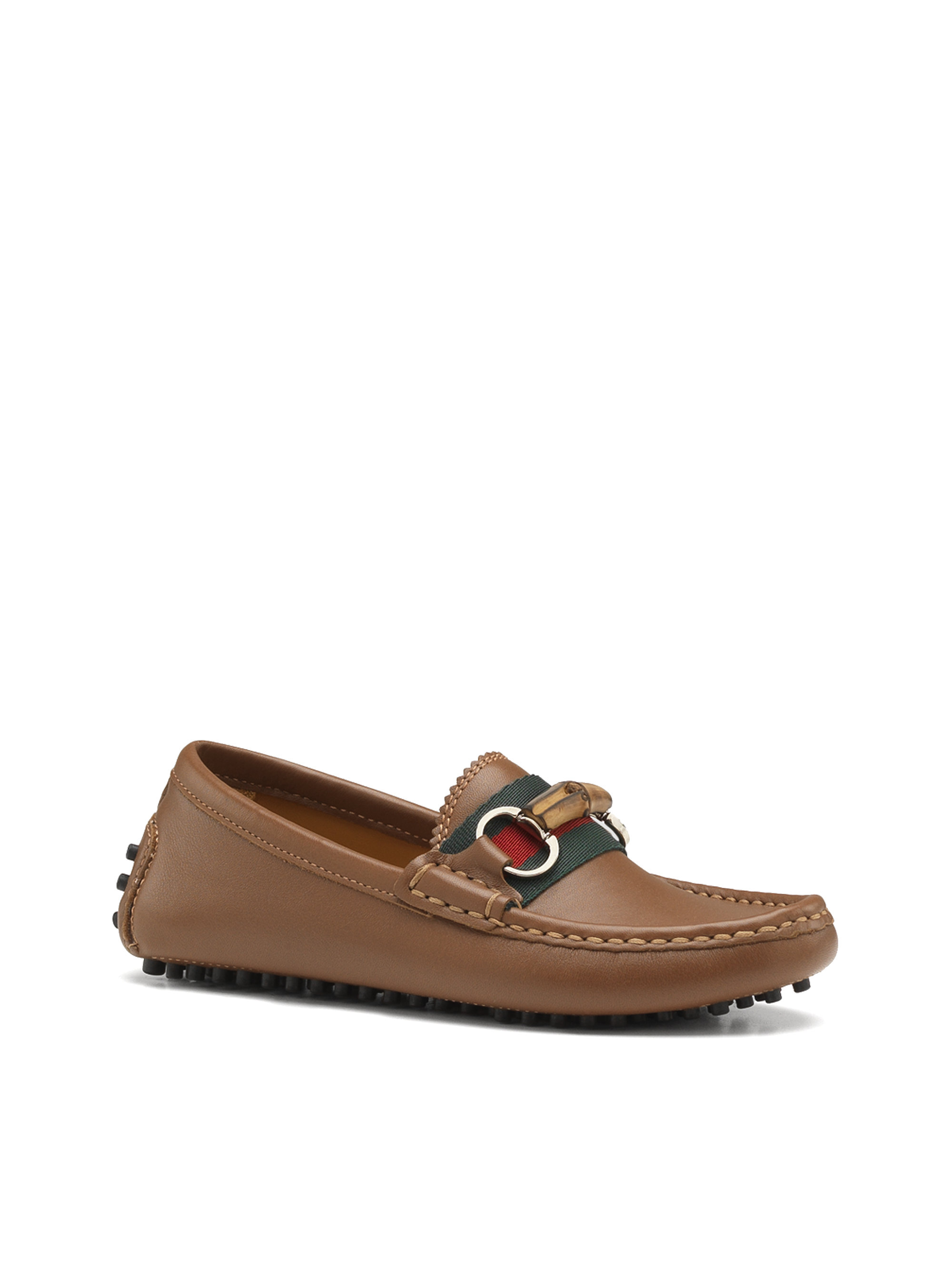 91a21ccef3a1 Lyst - Gucci Kids Leather Driver Loafers in Brown for Men