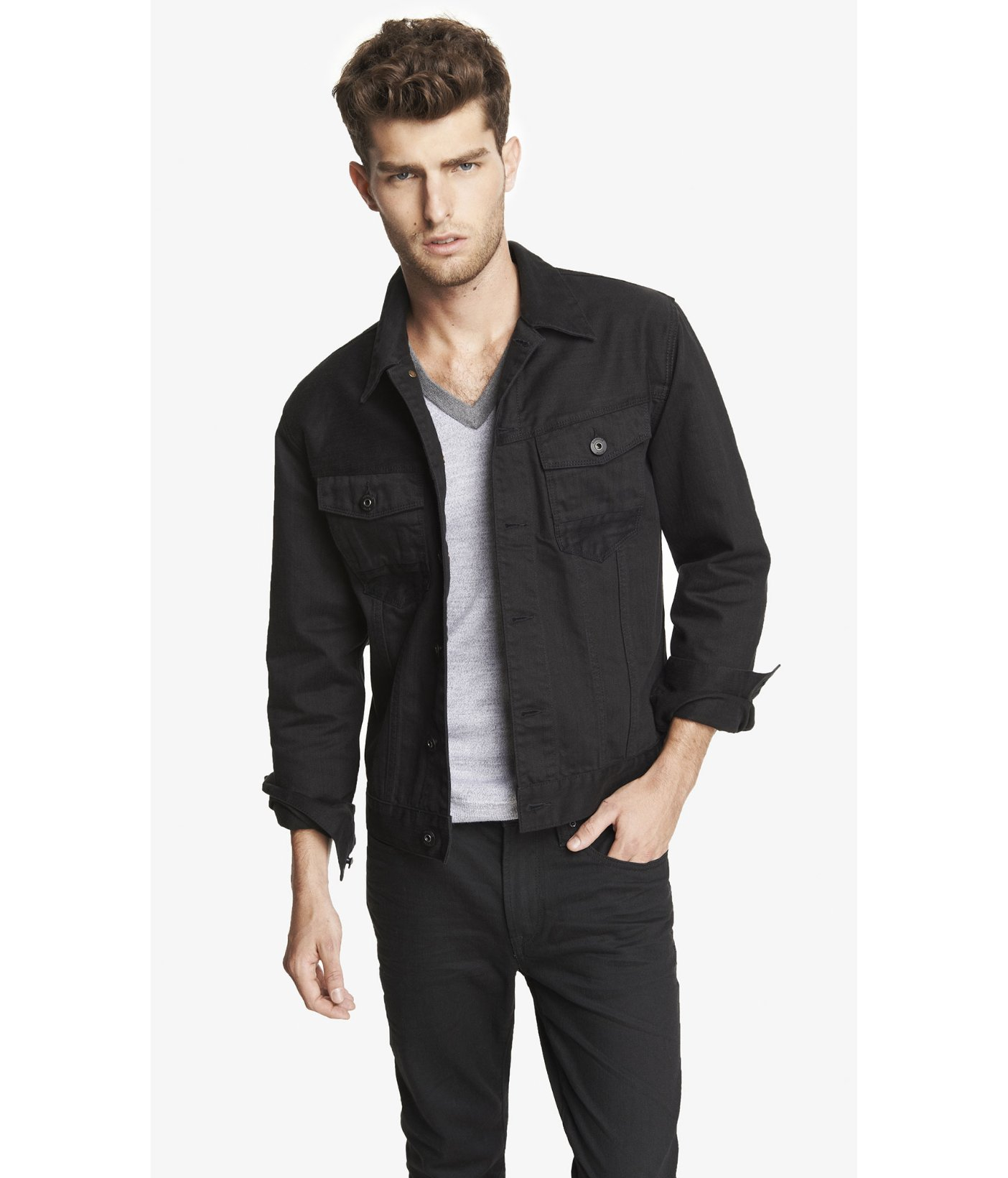 Express Black Denim Jacket in Black for Men | Lyst