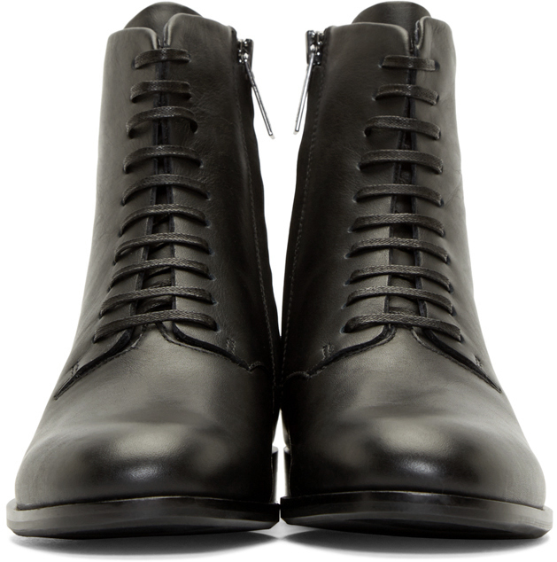 Jil Sander Navy Black Leather Lace_up Boots