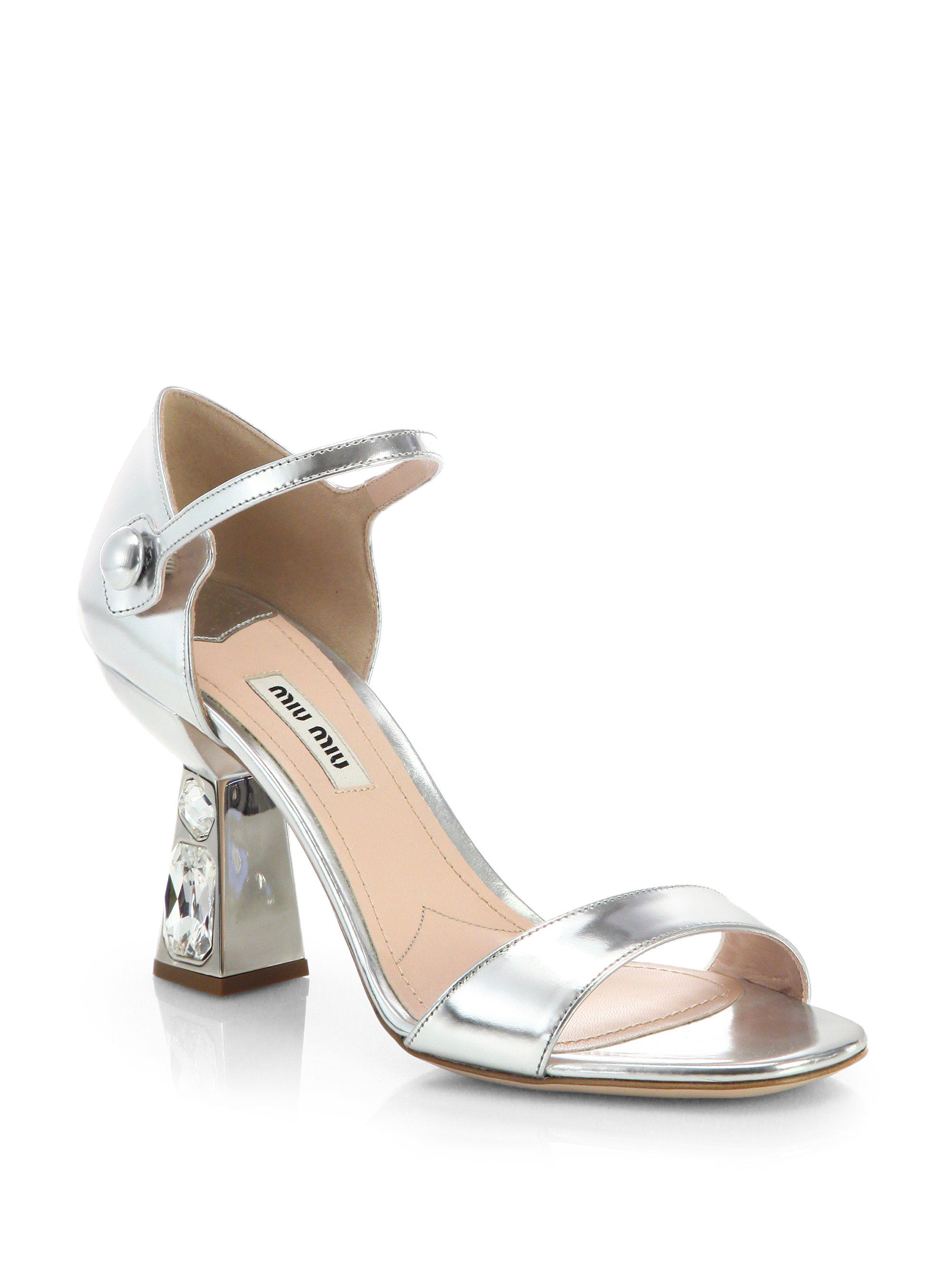 08dedb4d6fa1c8 Lyst - Miu Miu Metallic Leather Jeweled-Heel Sandals in Metallic