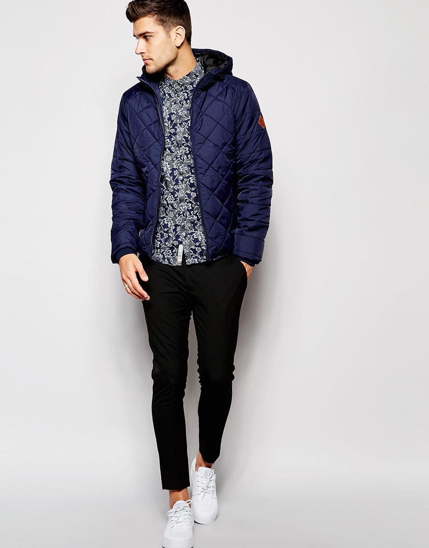 Lyst - Blend Quilted Hooded Jacket in Blue for Men : quilted hooded coat - Adamdwight.com