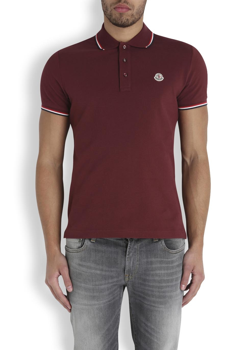 44d4cfdb84a8 Moncler Bordeaux Piqué Cotton Polo Shirt in Red for Men - Lyst