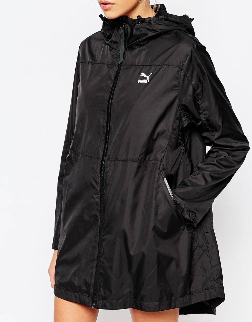 Puma Gold Collection Longline Hooded Windbreaker Jacket In
