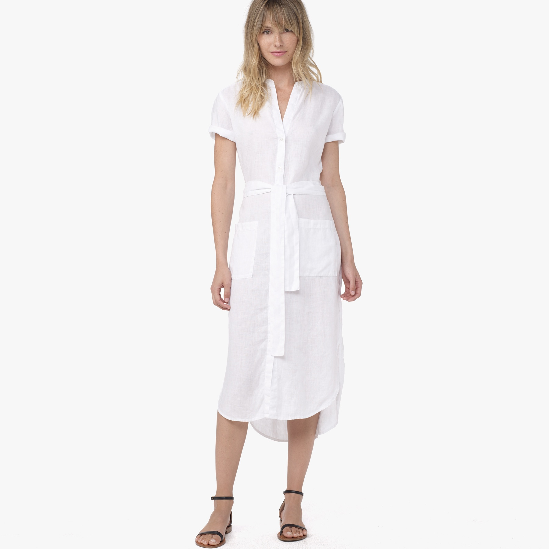 Lyst James Perse Linen Shirt Dress In White