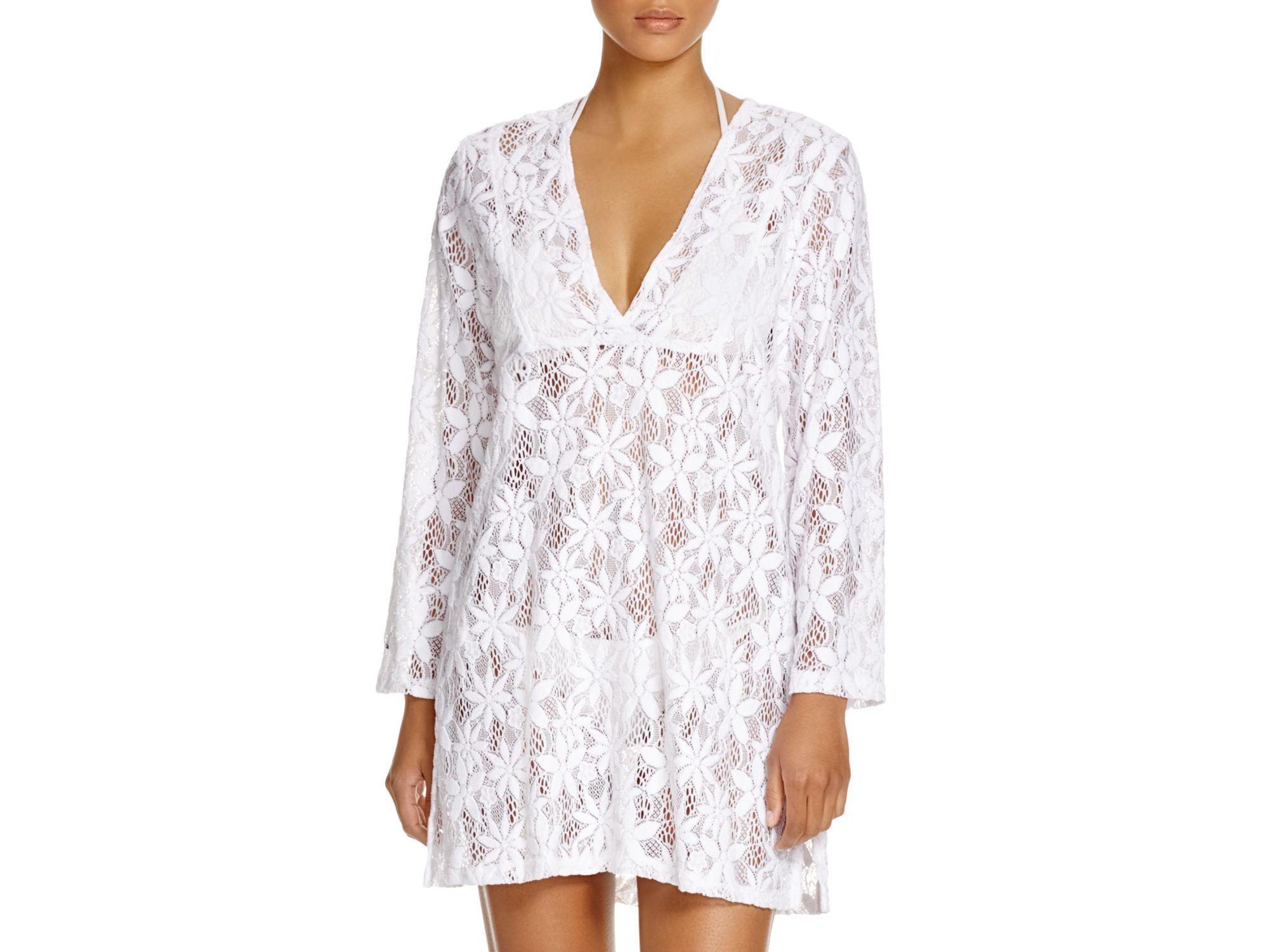 a71942f1f4ba1 Lyst - J Valdi Daisy Lace Tunic Swim Cover Up in White