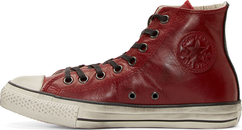 Converse Red Leather Chuck Taylor High Top Sneakers For