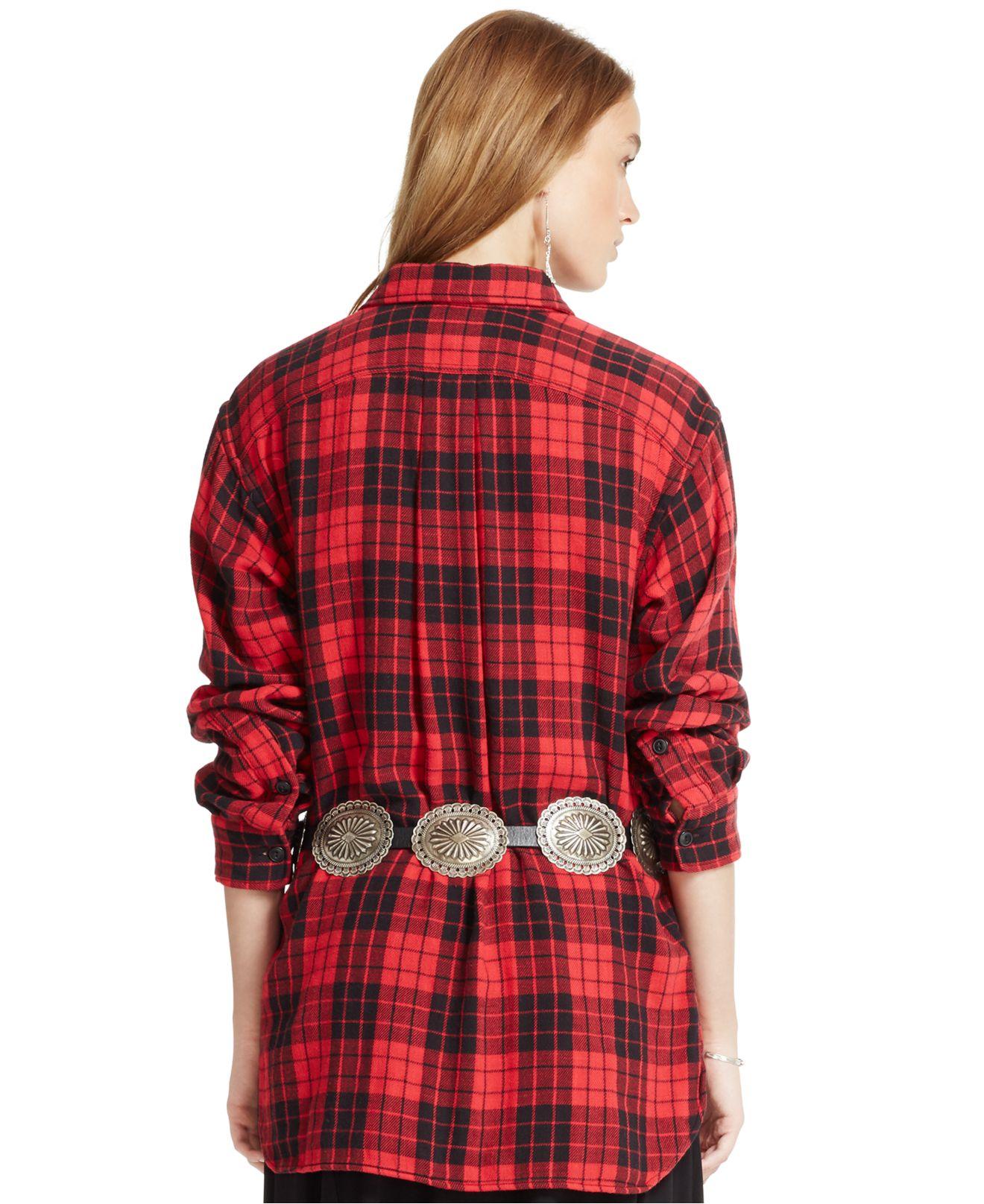 lyst polo ralph lauren plaid cotton boyfriend shirt in red. Black Bedroom Furniture Sets. Home Design Ideas