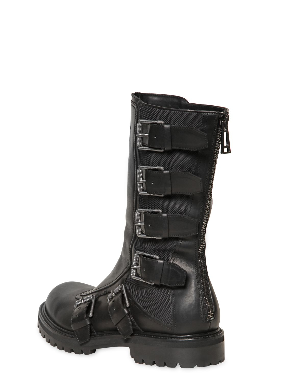 belstaff quot crossdale quot leather canvas biker boots in black