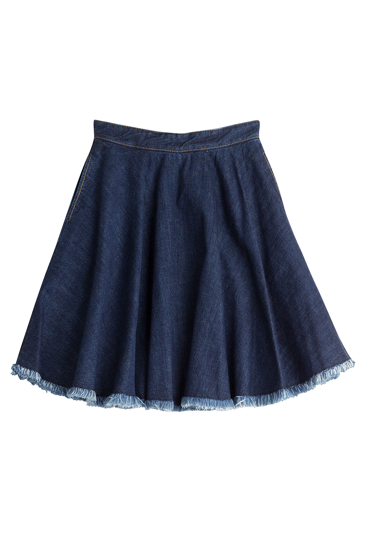 msgm denim skirt blue in blue lyst