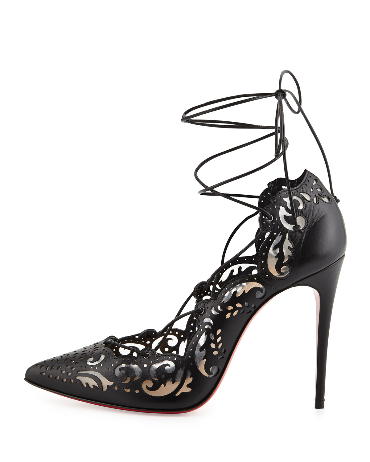 d5caf7088dcf Lyst - Christian Louboutin Impera Laceup Lasercut Red Sole Pump ...