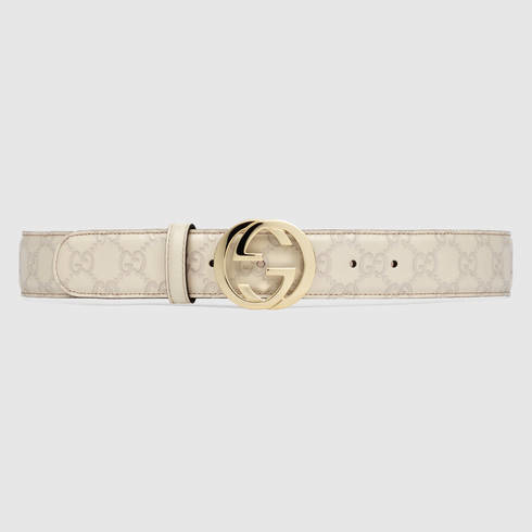 Gucci Ssima Leather Belt With Interlocking G Buckle in ...