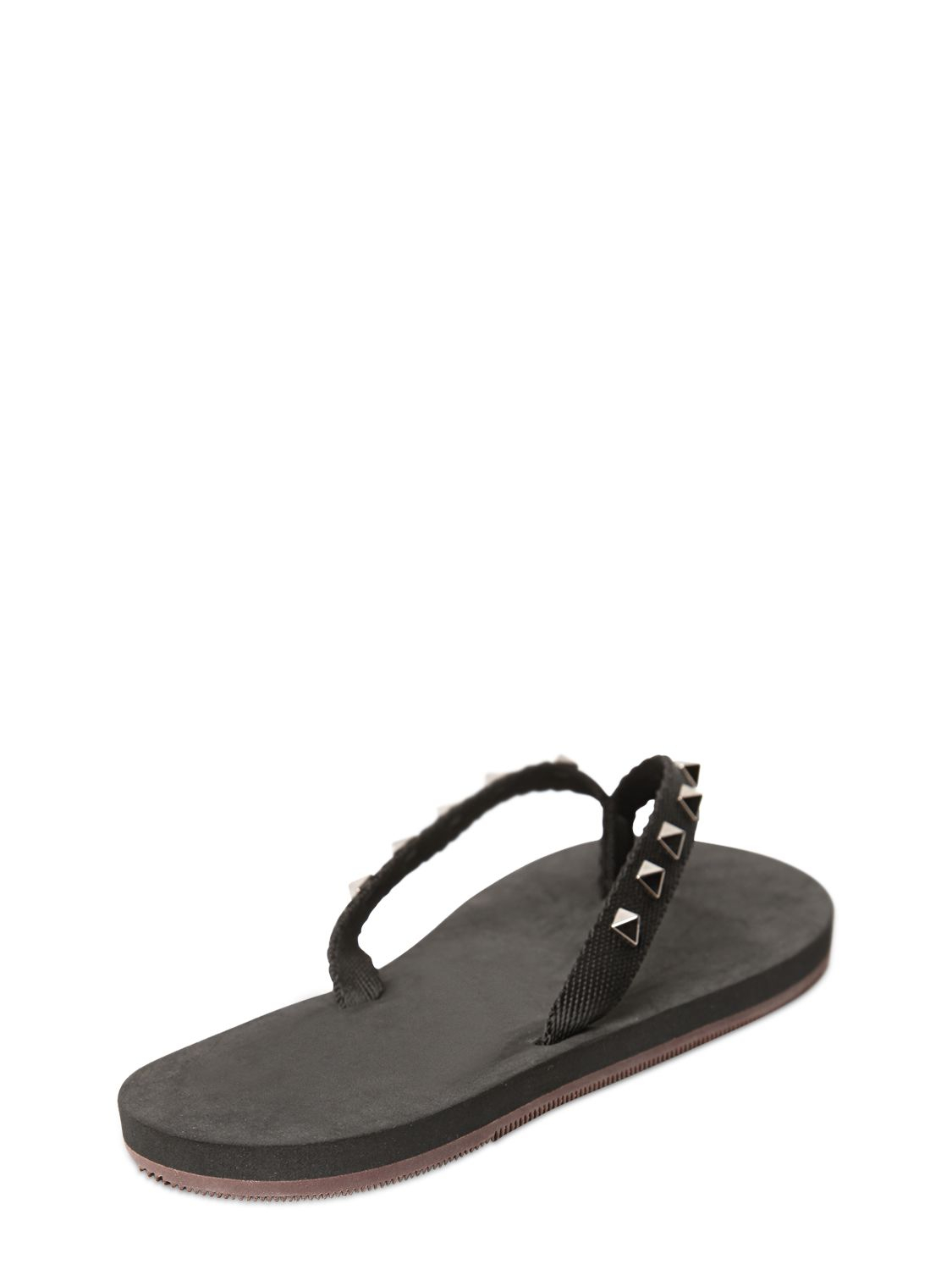 Valentino Studded Rubber Flip Flops In Black - Lyst-4754
