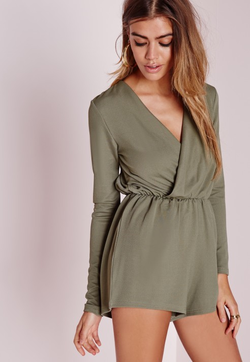 477add72ea Missguided Wrap Front Crepe Romper Khaki in Natural - Lyst