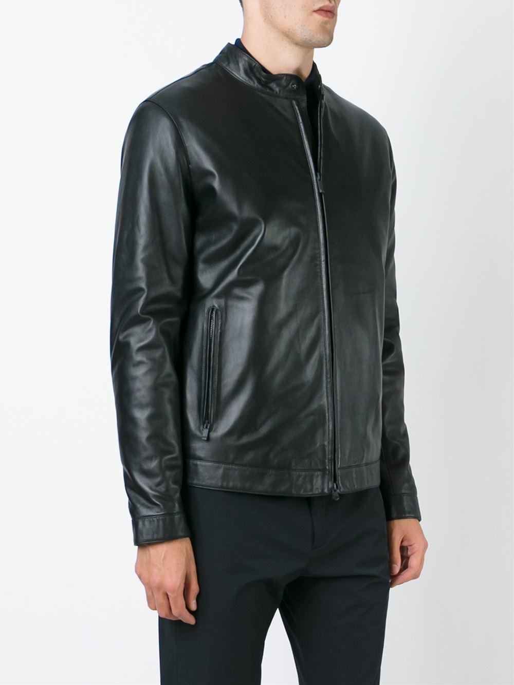 e69c517924 Z Zegna Black Leather Jacket for men