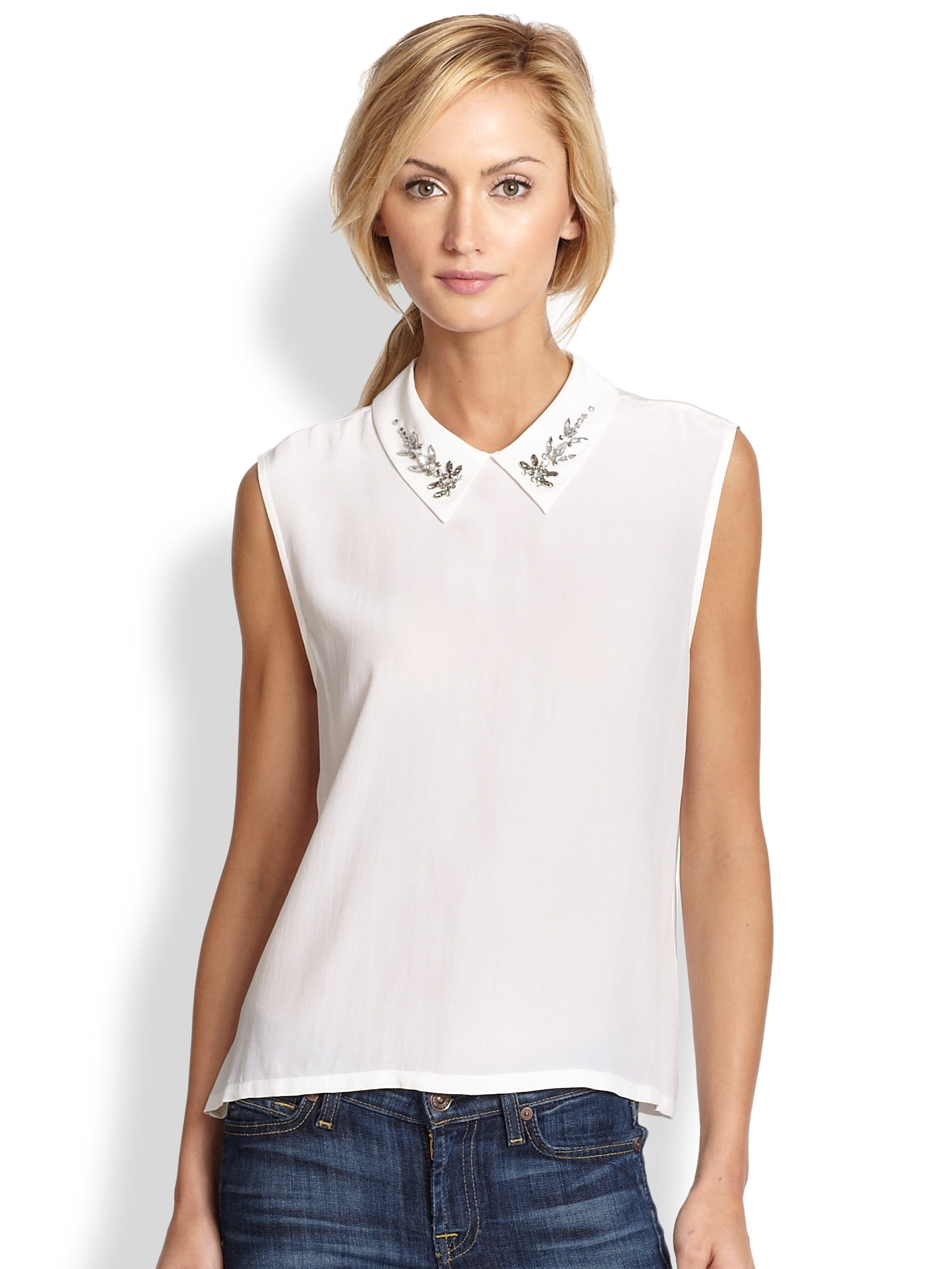 Sleeveless white silk blouse collar blouses for Sleeveless white shirt with collar