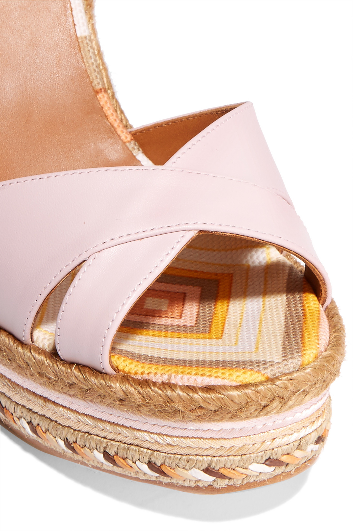 valentino leather and striped canvas espadrille wedge