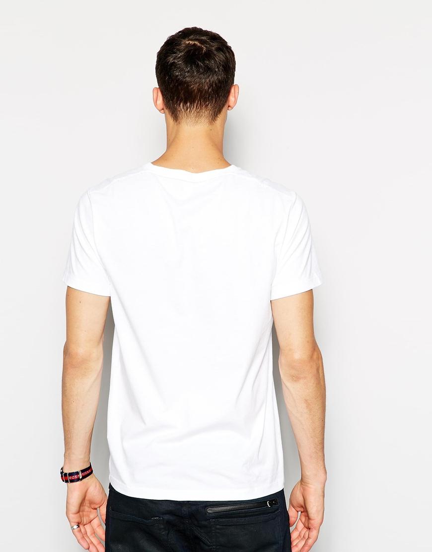 star raw g star t shirt fagan vneck originals camo logo in white for. Black Bedroom Furniture Sets. Home Design Ideas