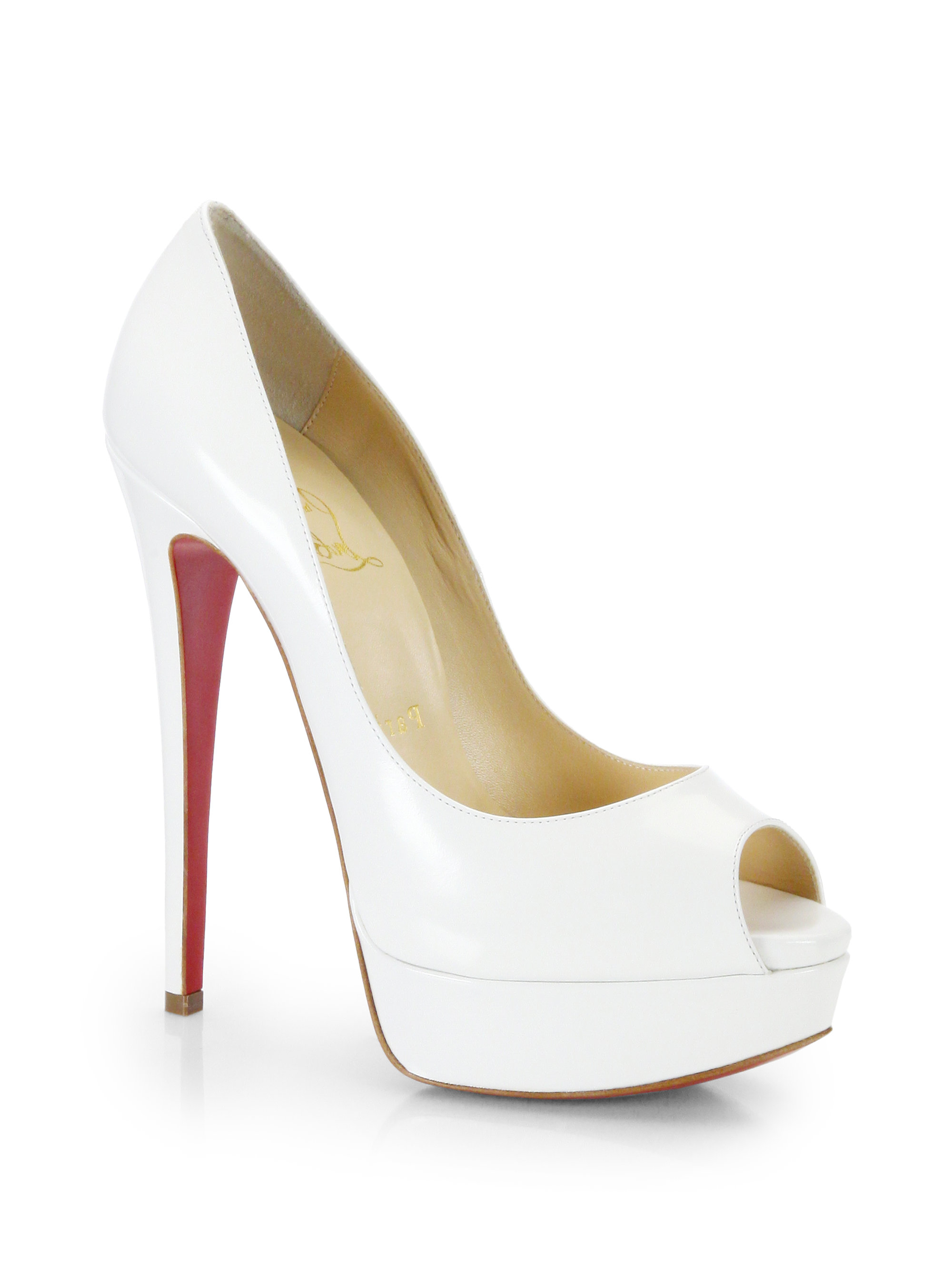 675f89b85fc3 Lyst - Christian Louboutin Lady Peep Leather Pumps in White