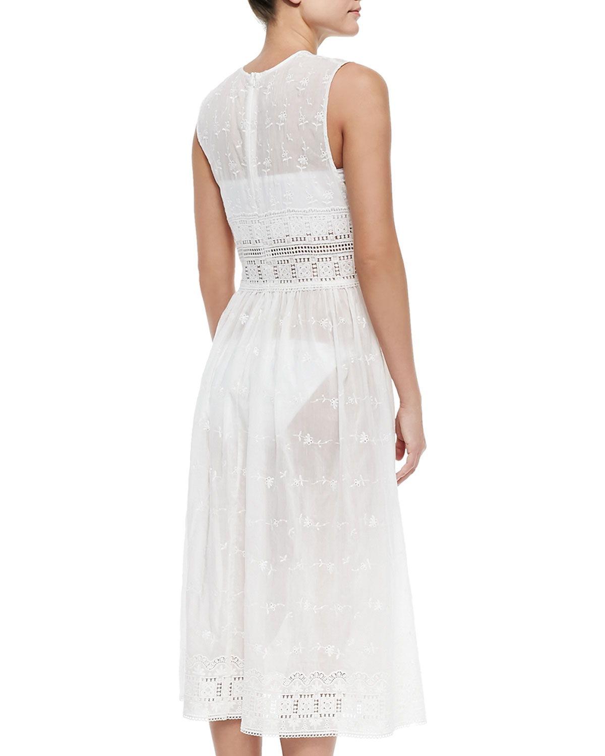 Zimmermann embroidered eyelet voile coverup dress in white