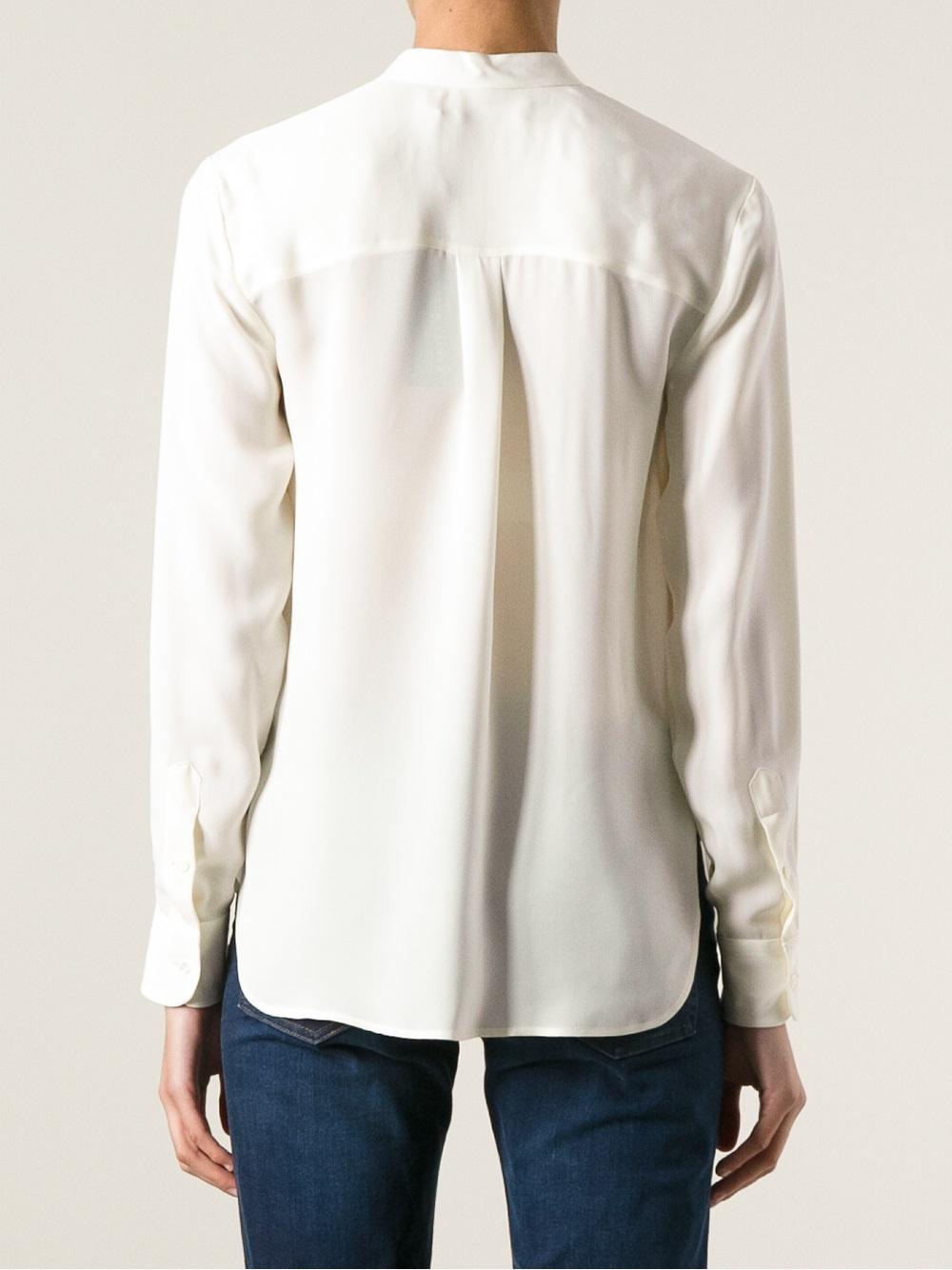 Collarless Silk Blouse