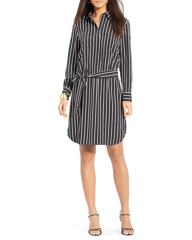 af62934c74b3f Lyst - Ralph Lauren Lauren Striped Shirt Dress in Black
