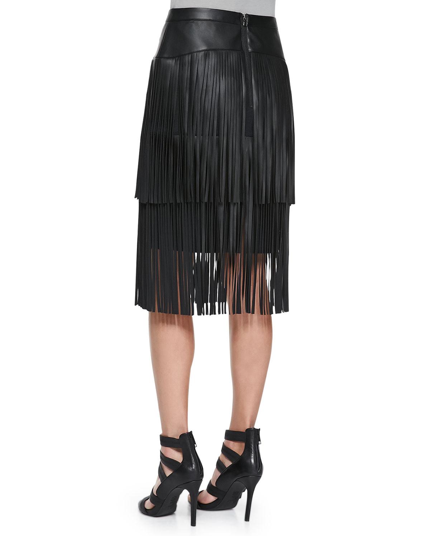 bcbgmaxazria rashell fringe faux leather pencil skirt in