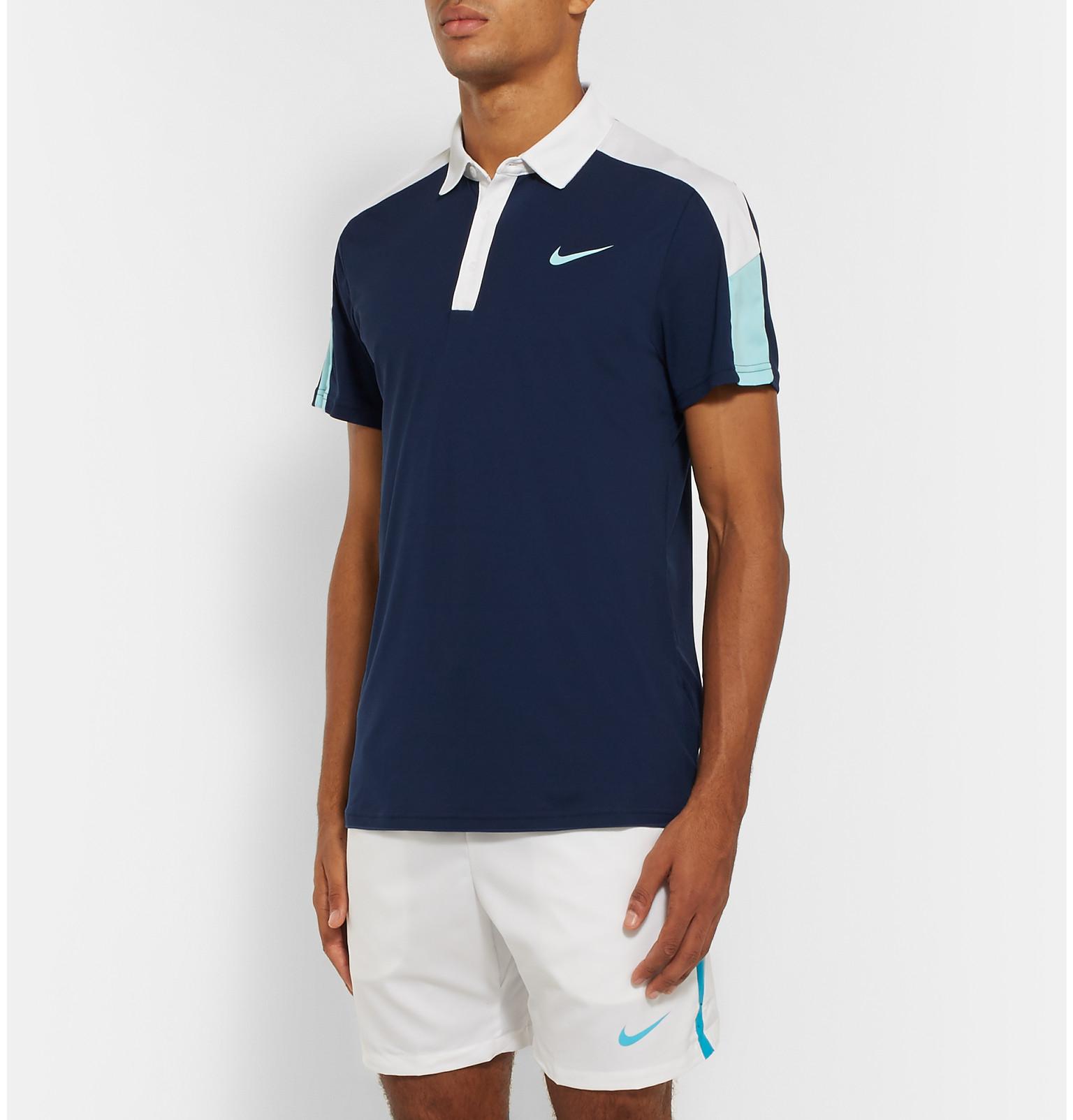 Lyst nike team court dri fit polo shirt in white for men for Dri fit polo shirts for boys