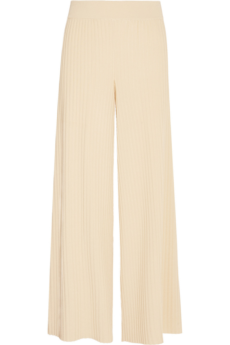 Stella mccartney Ribbed Jersey Wide-leg Pants in Natural | Lyst