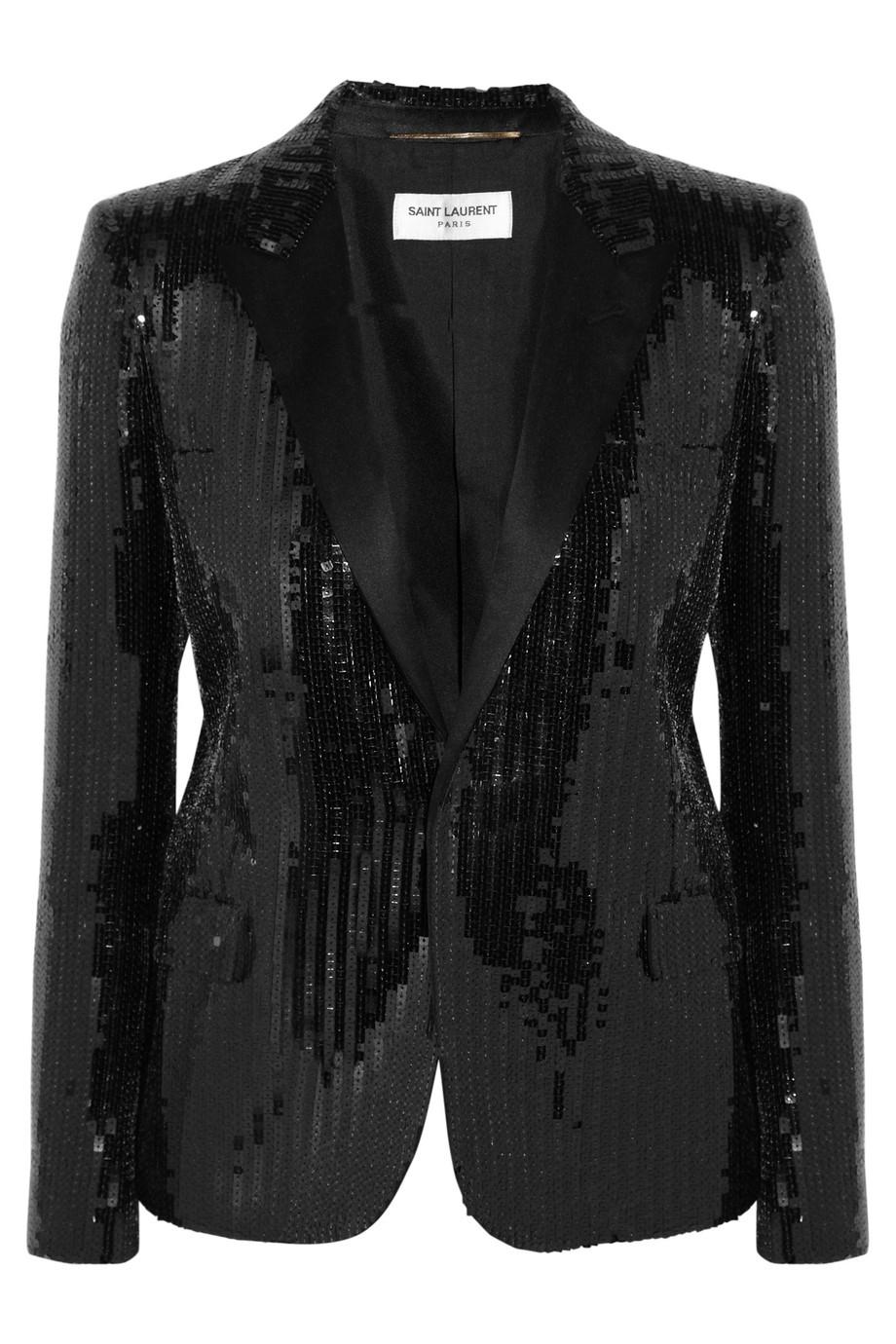 Saint Laurent Sequined Tuxedo Jacket In Black Lyst