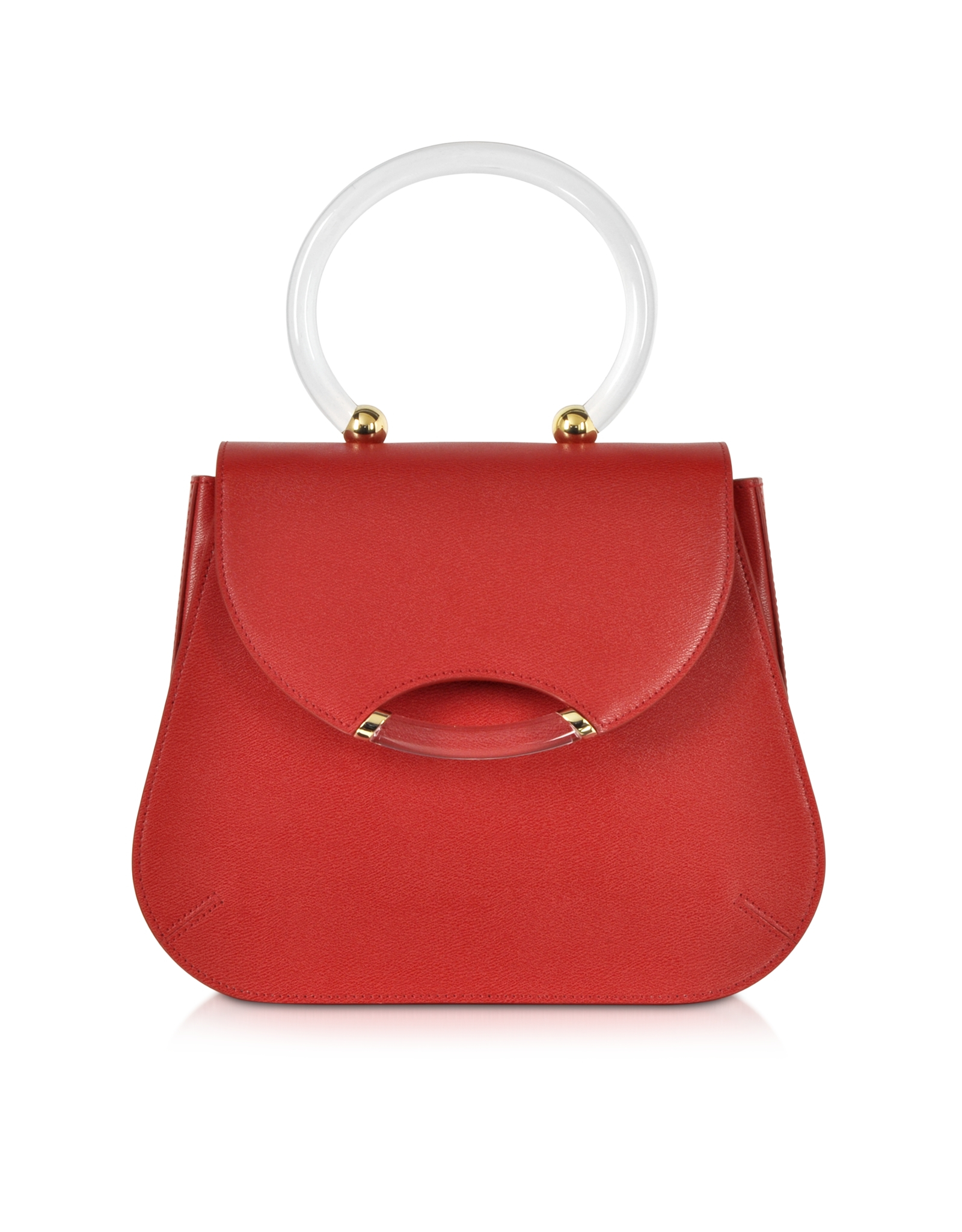 Charlotte Olympia Newman Red Leather Satchel W Transparent