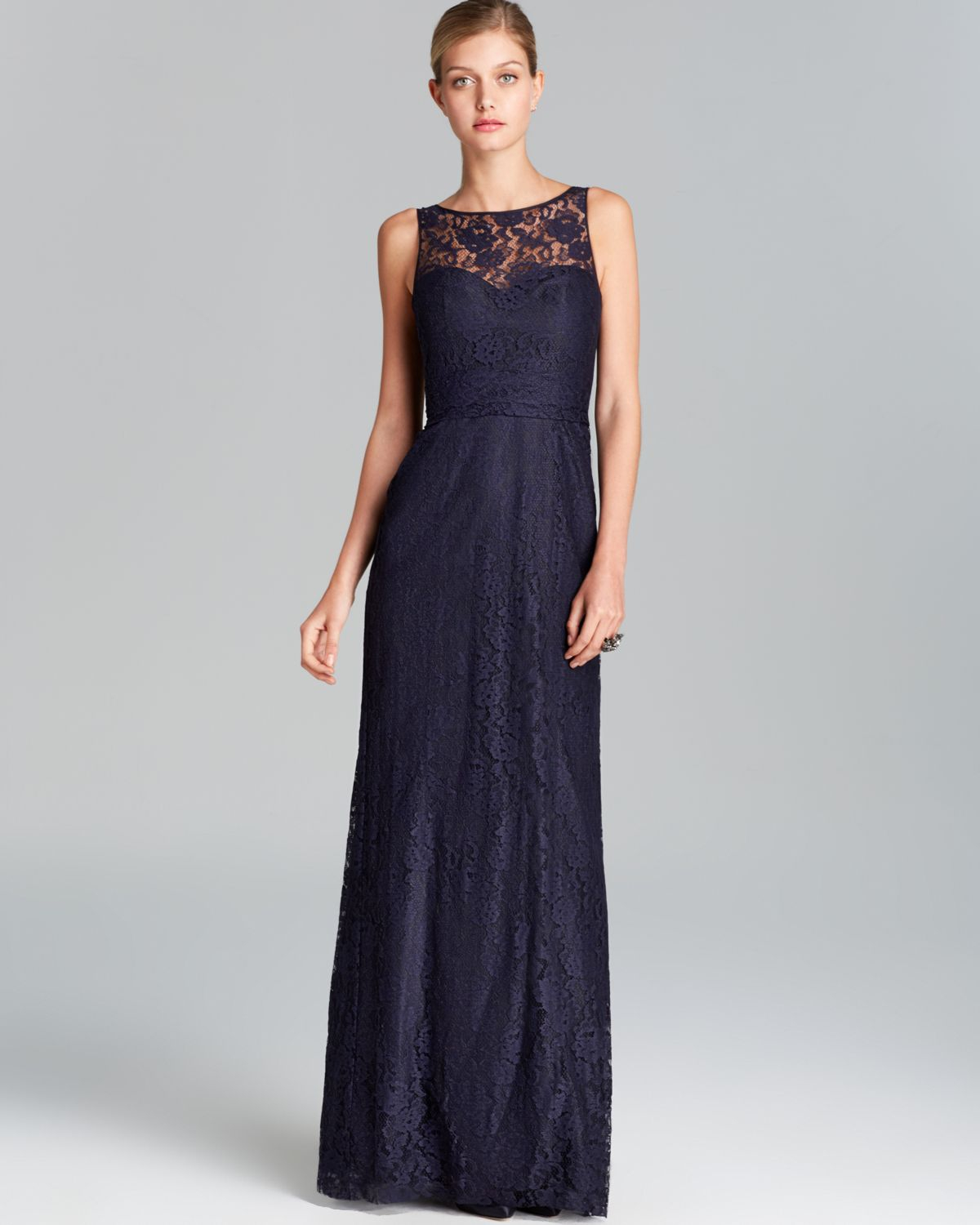 Lyst Amsale Gown Sleeveless Illusion Neckline Lace In Blue