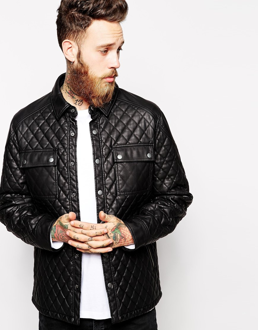Lyst asos faux leather quilted jacket in black for men for Quilted jackets for men