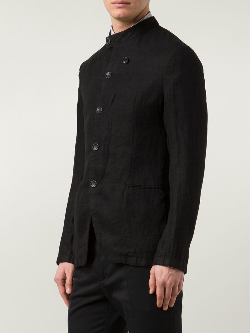 Armani Band Collar Blazer In Black For Men Lyst