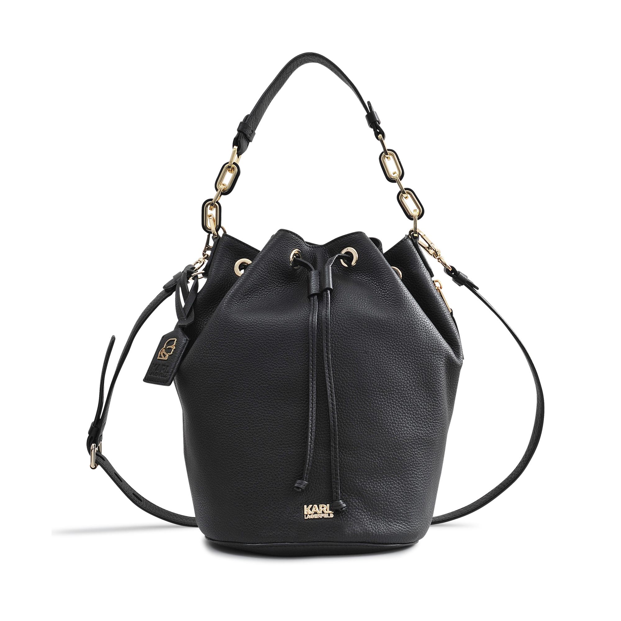 3d497e1451 Karl Lagerfeld Grainy Drawstring Bucket Bag in Black - Lyst
