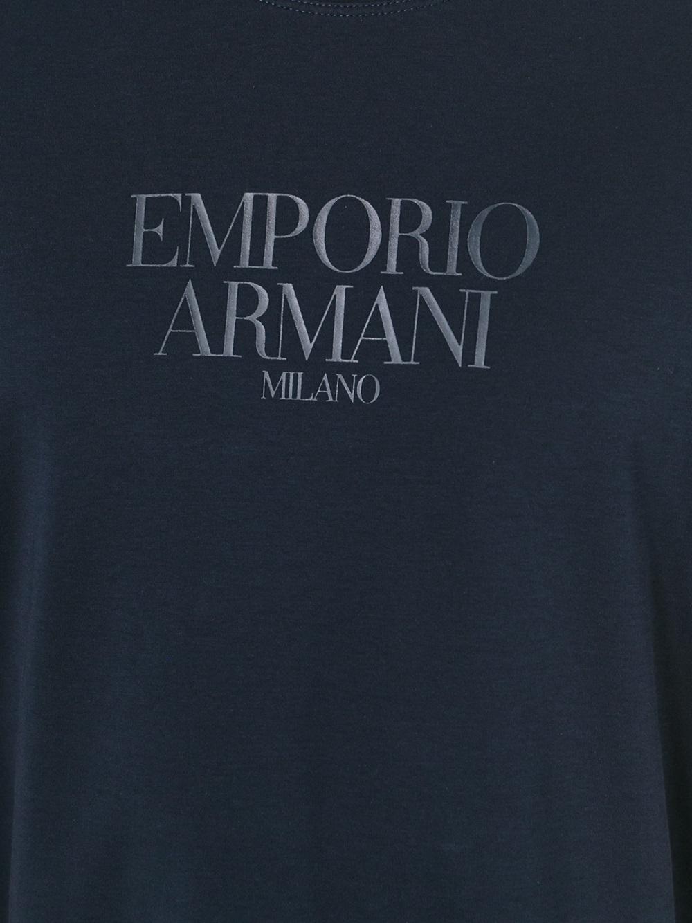 Lyst emporio armani logo print with round neck - Emporio giorgio armani logo ...