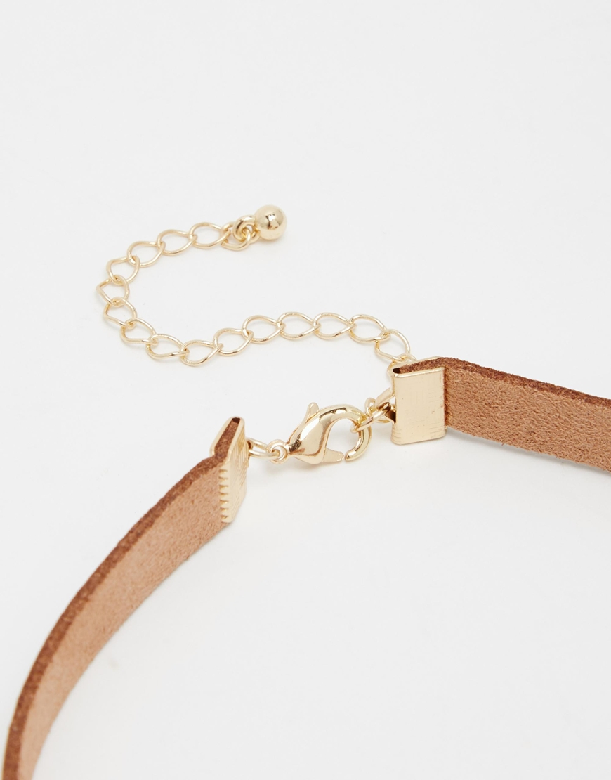 Asos 70 39 s bead choker necklace in brown lyst for Garcia s jewelry bench