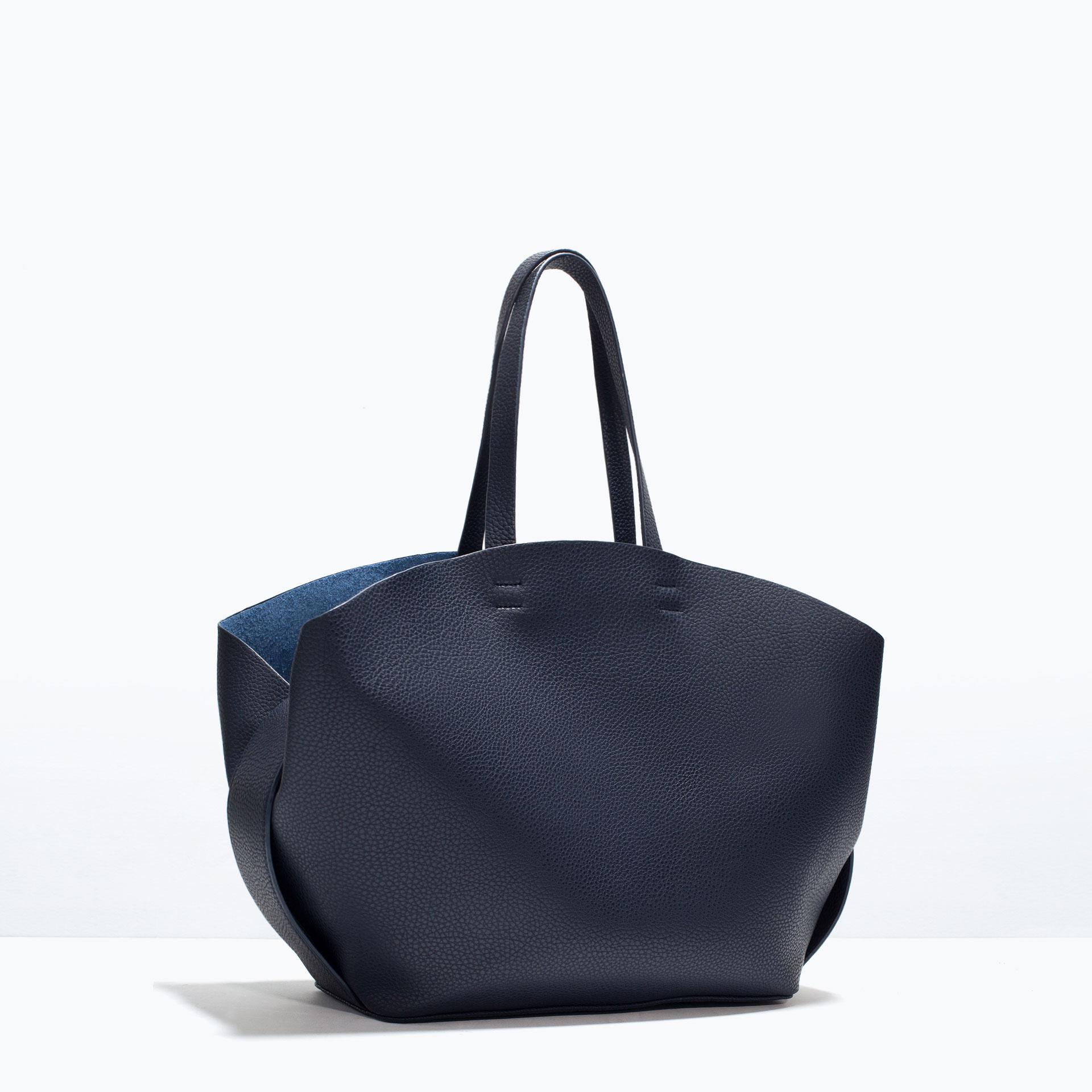 Zara Shopper Bag with Contrast Interior