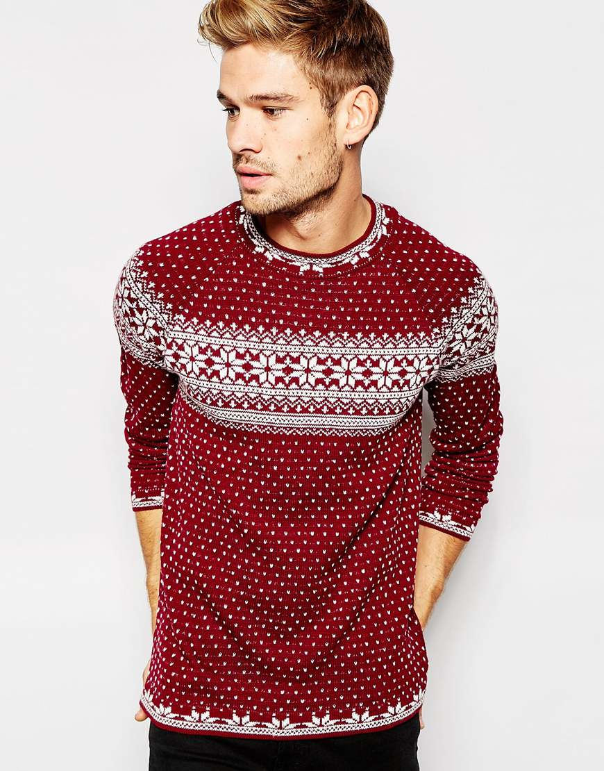 Knitting Patterns Mens Xmas Jumpers : Asos Christmas Jumper With Snowflake Design in Purple for Men Lyst