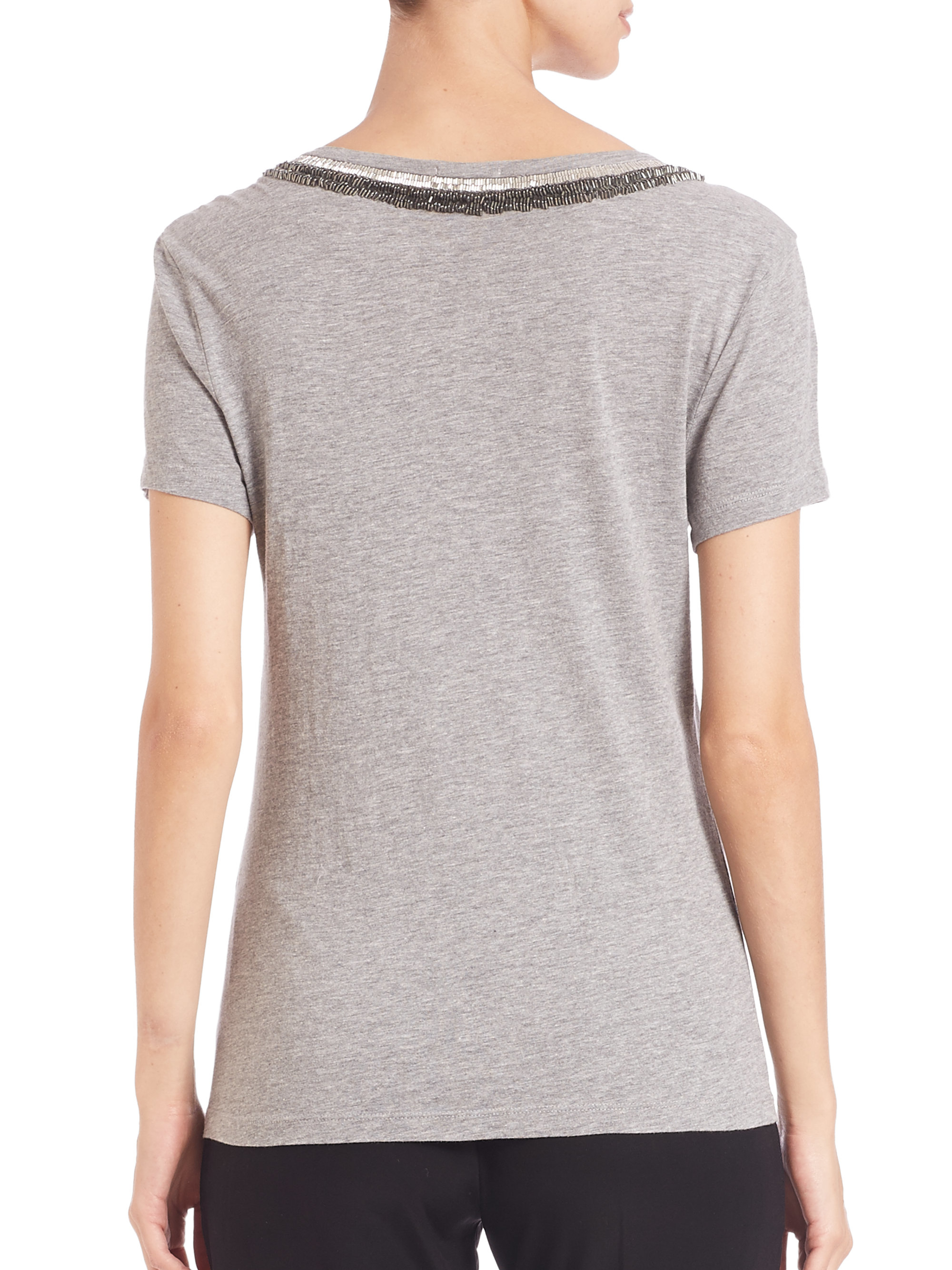 Three dots embellished scoopneck tee in gray lyst for Three dots t shirts