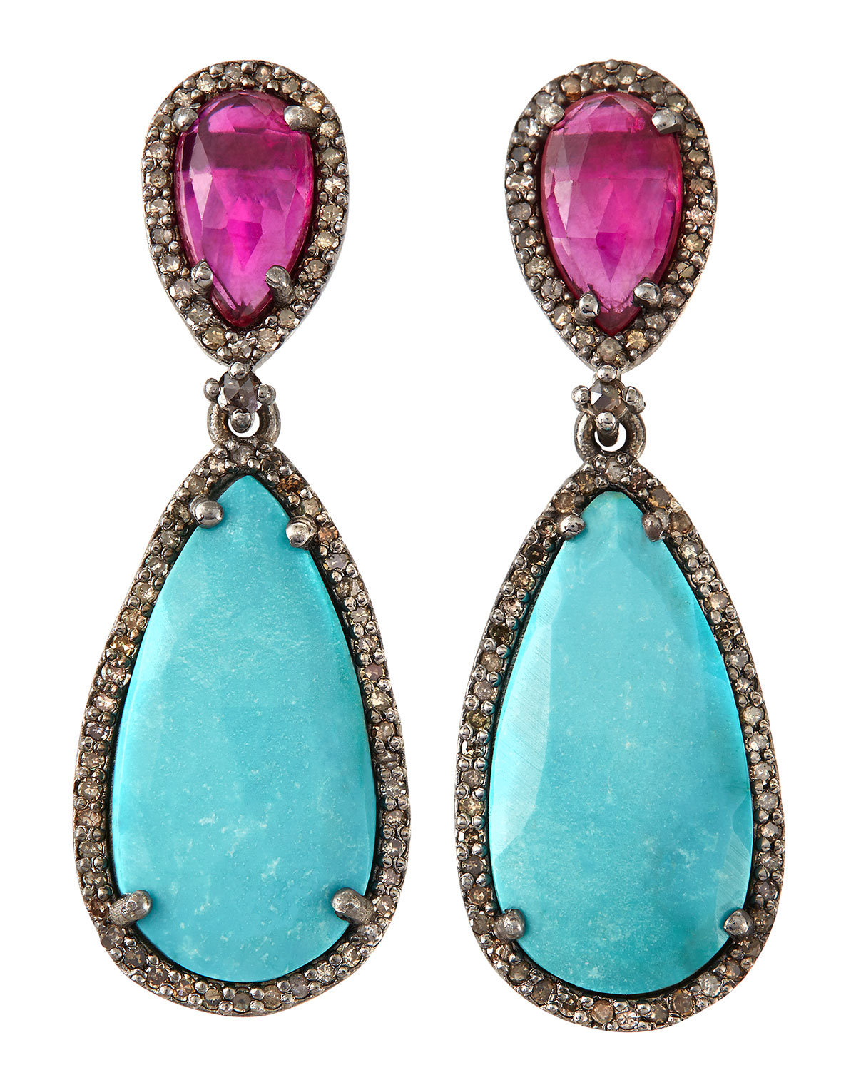 bavna jewelry bavna ruby turquoise pear drop earrings in blue lyst 7351